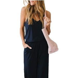 New Spaghetti Strap Jumpsuit Romper with Pockets